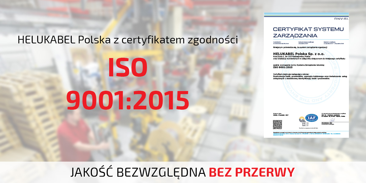 HELUKABEL z certyfikacją ISO 9001:2015